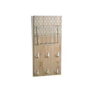 Accroche-clés mural 6 crochets et 1 panier métal  imprimé géométrique blanc FLAKE DECLIKDECO