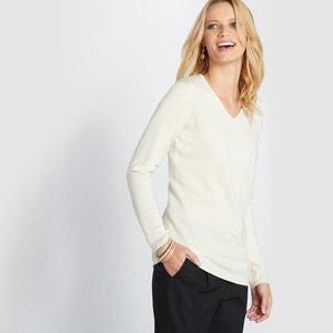 Jersey con cuello de pico de lana, seda y cachemir ANNE WEYBURN