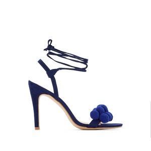Sandálias com tacão alto, detalhe com pompons La Redoute Collections