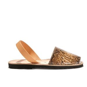 Sandales plates cuir de vache AVARCA REPTILE MINORQUINES