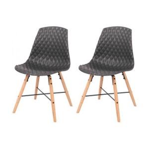 Chaises assise capitonnée et pieds en chêne (Lot de 2) ZAGO