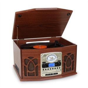 NR-620 Chaîne hifi stéréo tourne-disque enregistrement en bois marron AUNA