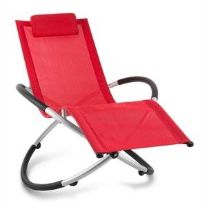 Chilly Billy Chaise longue jardin transat aluminium -rouge BLUMFELDT