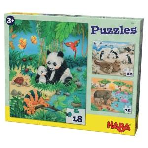 Puzzles 12 à 18 pièces : 3 puzzles Familles d'animaux HABA