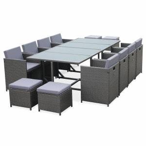 Salon de jardin Cubo Gris table en résine tressée 8 à 12 places, fauteuils encastrables ALICE S GARDEN