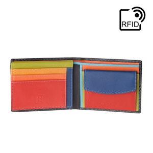 Portefeuille pour homme avec écran RFID Coloré en Cuir Véritable format Classique avec Porte-monnaie et Porte-cartes de cré NUVOLA PELLE