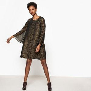 Metallic Leopard Print Shift Dress La Redoute Collections