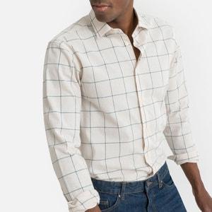 Recht geruit hemd met lange mouwen