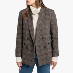 Geruite blazer, mixed wol