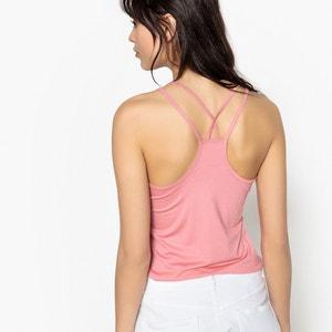 Bluzka gładka T-shirt na cienkich, skrzyżowanych z tyłu ramiączkach La Redoute Collections