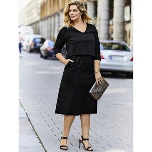 Plain Short-Sleeved Midi Shift Dress ULLA POPKEN