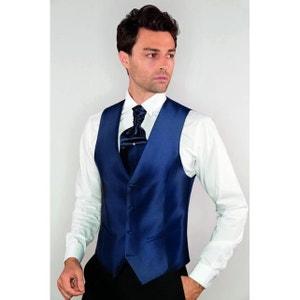Gilet pour Costume Homme ajustable uni bleu marine DYMASTYLE