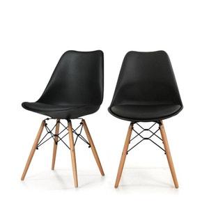 Lot de 2 chaises design metal et bois Dogewood DRAWER