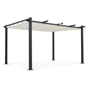 Tente de jardin, pergola aluminium 3x4m Condate écru, toile rétractable, toile c ALICE S GARDEN