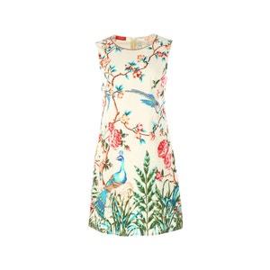 Vestido sem mangas, estampado floral e pássaros RENE DERHY