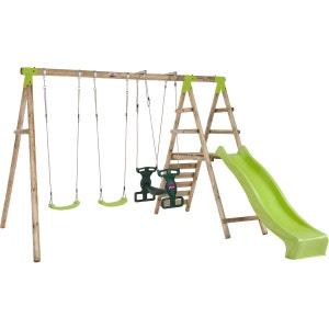 Plateforme de jeux avec agrès - toboggan et mur d'escalade PLUM