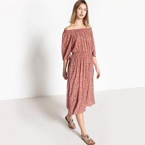 Wijduitlopende lange jurk met bloemenprint en korte mouwen SEE U SOON