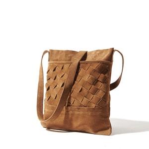 Handtas in gevlochten leer La Redoute Collections