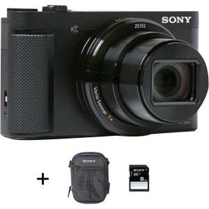 Appareil photo compact SONY Pack HX80 noir + Housse + Carte SD 8 Go SONY