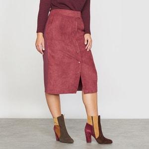 Dual Fabric Faux Leather Skirt CASTALUNA