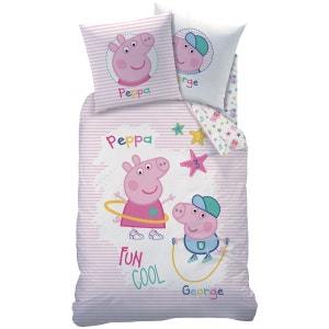 housse de couette et taie doreiller 140x200 cm peppa pig rcration 100 coton - Jeux De Peppa Pig A La Piscine