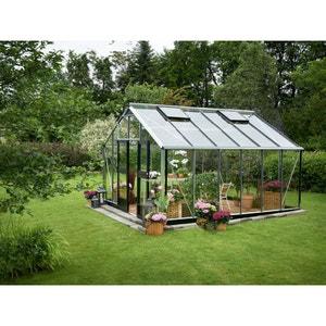 """Serre verre """"Gardener"""" - Aluminium - 16,2 m² - 4,39 x 3,68 x 2,87 m. HABITAT ET JARDIN"""