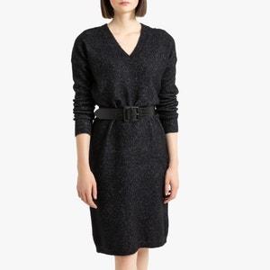 Trui-jurk met V-hals, lange mouwen