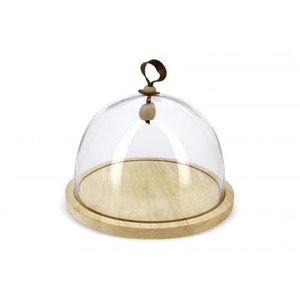 Cloche en verre et son socle bois - H : 25cm  x Diam. : 30,5cm REVOL