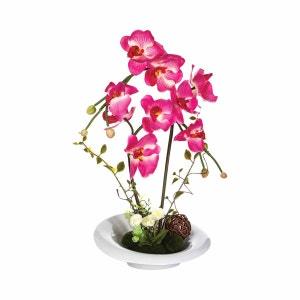 Composition de fleurs artificielles Orchidées - Vase en céramique - Rose ATMOSPHERA