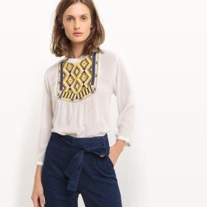 Tee-shirt avec plastron brodé, manches 3/4 R studio