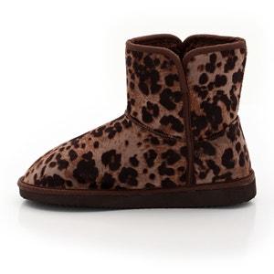 Gevoerde platte boots met luipaardprint La Redoute Collections