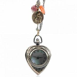 Montre pendentif en forme de coeur couleur bronze EXOTIC EXPRESS
