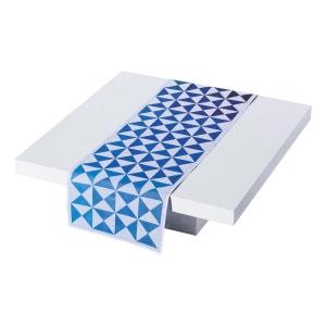 Vis-à-vis réversible Origami Encre 50x150 100% coton LE JACQUARD FRANCAIS