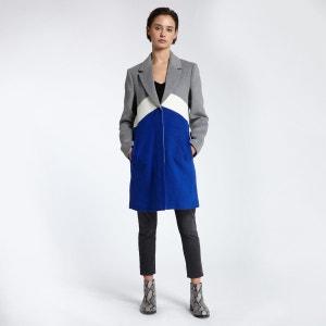 Manteau colorblock en laine mélangée MORGAN