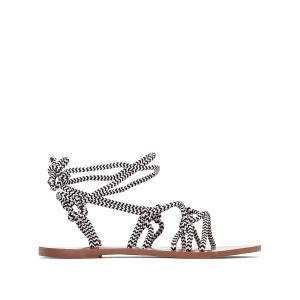 Sandales plates brides lacets La Redoute Collections