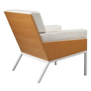Fauteuil Lounge 1 acier cuir et bois ALEX DE ROUVRAY DESIGN