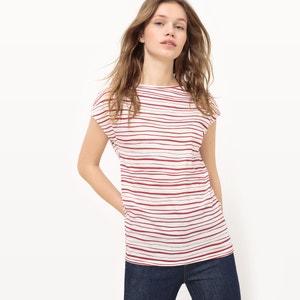 T-shirt às riscas, algodão BIO R essentiel