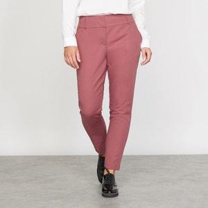 7/8 Length Stretch Cotton Satin Tapered Trousers CASTALUNA