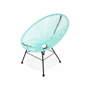 Fauteuil Acapulco chaise oeuf design rétro cordage vert d'eau ALICE S GARDEN