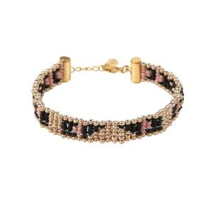 Bracelet fin tissé en perles à motifs ethniques AMAHLE
