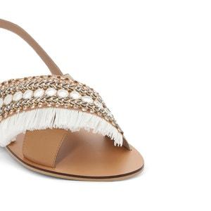 Sandalias de piel con detalle de cuentas, para pies anchos, del 38 al 45 CASTALUNA