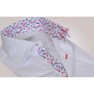 Chemise homme blanche intérieur à fleurs bleues et rouges poignets napolitains - Chemise NON CINTRÉE OZOA CHEMISES