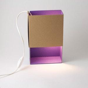 BOITE A LUMIERE - Lampe à poser Carton/Violet L17cm ADONDE