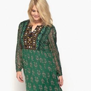 Sukienka długa, wzorzysta, z długim rękawem CASTALUNA