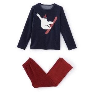 Pyjama velours imprimé ours en ski 2-12 ans La Redoute Collections