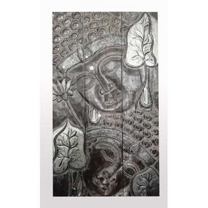 Tableau Tryptique Bouddha sur bois couleur gris argenté brossé 100cm PIER IMPORT