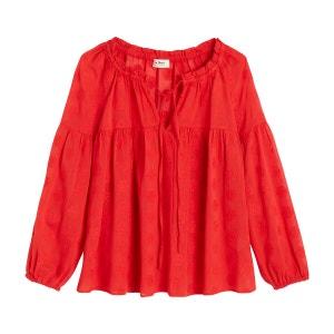 Blusa amplia con cuello redondo y manga larga MARILOU