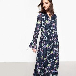 Robe longue imprimée fleuri, liens manches La Redoute Collections