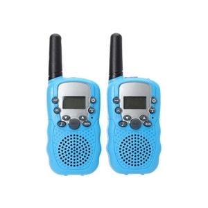 Talkie walkie 22 canaux push to talk écran LCD portée 3 à 5 km Bleu Yonis