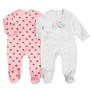 Set van 2 pyjama's in fluweel 0 mnd-3 jaar